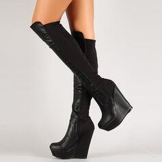 Women's PU Wedge Heel Knee High Boots Round Toe With Zipper Splice Color shoes