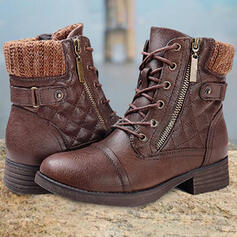 Women's PU Chunky Heel Ankle Boots Low Top Sock Boots With Zipper Lace-up Solid Color shoes