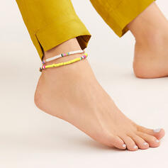 Exotic Boho Alloy Soft Clay Anklets (Set of 2)