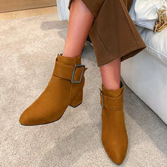 Women's Leatherette Chunky Heel Ankle Boots Heels Pointed Toe With Zipper Solid Color shoes