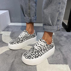 Women's Cloth Flat Heel Flats With Animal Print Lace-up shoes