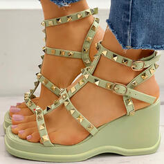 Women's Leatherette Sparkling Glitter Wedge Heel Flip-Flops Slippers With Rivet Hollow-out shoes