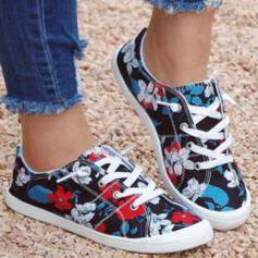 Women's Canvas Flat Heel Flats Round Toe Slip On With Lace-up Print shoes