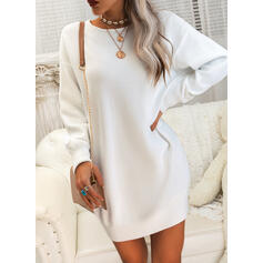 Couleur Unie Dentelle Col Rond Long Sexy Robe Pull