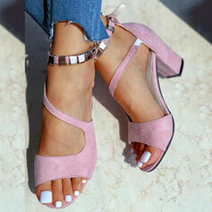 Women's Suede Chunky Heel Sandals Pumps Peep Toe With Buckle Hollow-out Elastic Band Solid Color shoes