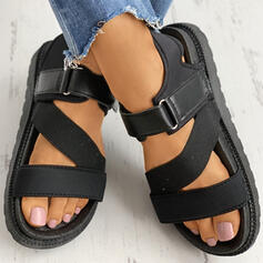 Women's PU Flat Heel Sandals Peep Toe With Buckle Velcro shoes