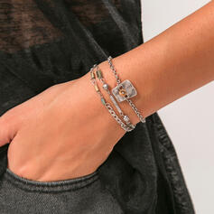 Vintage Boho Layered Alloy With Acrylic Bracelets 3 PCS