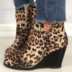 Women's PU Wedge Heel Wedges Ankle Boots Low Top Chelsea Boots With Animal Print Zipper shoes