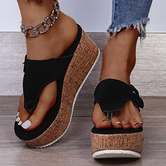 Women's Suede Wedge Heel Sandals Wedges Slippers With Velcro shoes