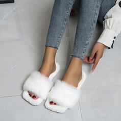 Women's Velvet Flat Heel Peep Toe With Faux-Fur shoes