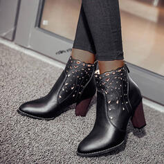 Women's PU Chunky Heel Boots Ankle Boots Martin Boots Pointed Toe With Zipper Hollow-out shoes