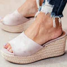 Women's Suede Wedge Heel Wedges Peep Toe Slippers With Braided Strap Solid Color shoes