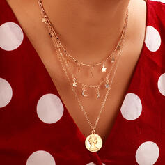 Fashionable Vintage Layered Alloy With Star Moon Coin Necklaces (Set of 3)