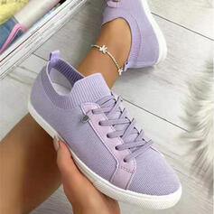 Women's Flying Weave Flat Heel Flats Sneakers Slip On With Lace-up Solid Color shoes