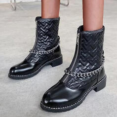 Women's PU Low Heel Mid-Calf Boots Round Toe With Zipper Solid Color shoes