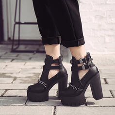 Women's PU Chunky Heel Platform Heels With Buckle Hollow-out shoes