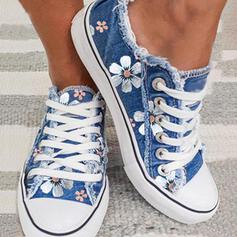 Women's Canvas Flat Heel Flats Low Top Round Toe With Applique Stitching Lace Lace-up shoes