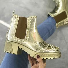 Women's PU Chunky Heel Martin Boots Round Toe With Rivet Elastic Band shoes