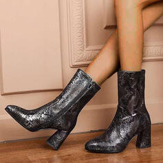 Women's Leatherette Chunky Heel Mid-Calf Boots Martin Boots Pointed Toe With Zipper Splice Color shoes