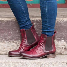 Women's PU Chunky Heel Martin Boots Round Toe With Splice Color shoes