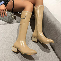 Women's Leatherette Chunky Heel Mid-Calf Boots With Zipper Solid Color shoes