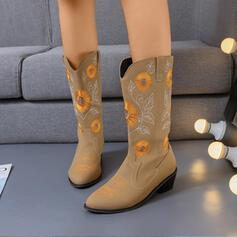 Women's Leatherette Chunky Heel Mid-Calf Boots With Floral Embroidery shoes