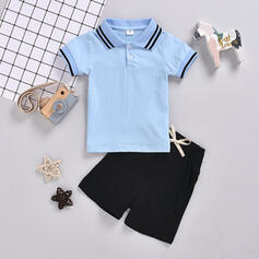 2-pieces Toddler Boy Button Solid Cotton Set