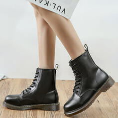 Women's Leatherette Low Heel Round Toe With Lace-up Solid Color shoes