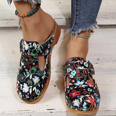 Women's PU Others Flats Round Toe Mules Slip On With Hollow-out Print shoes