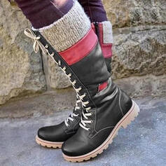 Women's PU Low Heel Knee High Boots Snow Boots Riding Boots Round Toe With Lace-up Splice Color shoes