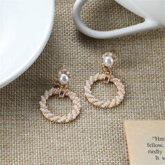 Charming Round Alloy Imitation Pearls Earrings (Set of 2)