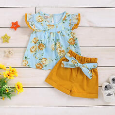 2-pieces Baby Girl Bowknot Ruffle Floral Print Cotton Set