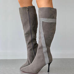 Women's PU Stiletto Heel Knee High Boots Pointed Toe With Zipper Splice Color shoes