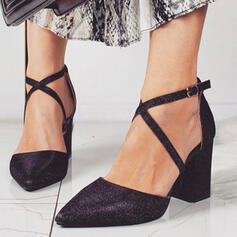 Women's Leatherette Chunky Heel Pointed Toe With Buckle shoes