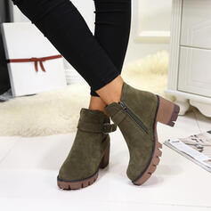 Women's Leatherette Chunky Heel Boots Ankle Boots Round Toe With Buckle shoes
