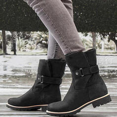 Women's PU Chunky Heel Mid-Calf Boots Round Toe With Buckle shoes