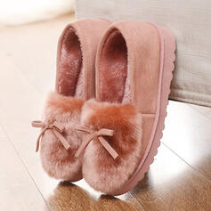 Women's Leatherette Flat Heel Flats With Bowknot Faux-Fur shoes