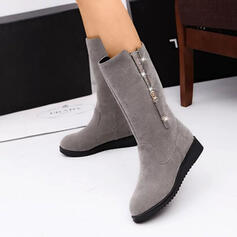 Women's Suede Wedge Heel Mid-Calf Boots With Zipper shoes