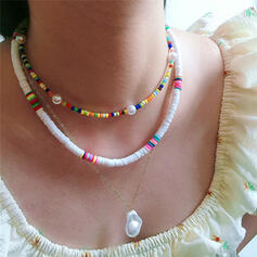Exotic Boho Layered Alloy Imitation Pearls Beads Soft Clay With Imitation Pearls Necklaces (Set of 3)