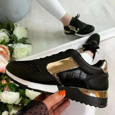 Women's PU Others Flats Sneakers With Zipper Lace-up Splice Color shoes
