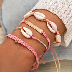 Boho Charming Shell Shaped Alloy Jewelry Sets Bracelets 4 PCS