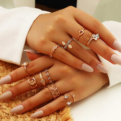 Attractive Layered Alloy Rings (Set of 12)