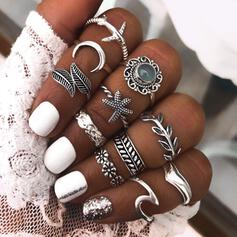 Boho Wave Alloy With Zircon Moon Leaf Starfish Rings (set of 11)