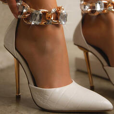 Women's PU Stiletto Heel Pumps Heels With Rhinestone Chain Solid Color shoes