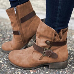 Women's Suede Chunky Heel Boots Ankle Boots With Buckle Zipper Solid Color shoes