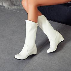 Women's PU Flat Heel Mid-Calf Boots Round Toe With Zipper Solid Color shoes