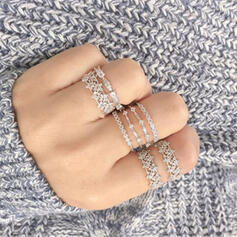 Shining Alloy With Rhinestones Rings (Set of 8)