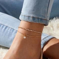 Chic Elegant Alloy With Zircon Anklets 2 PCS