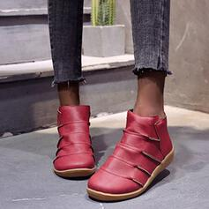 Women's PU Wedge Heel Boots Ankle Boots Round Toe With Solid Color shoes