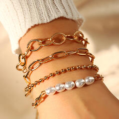 Fashionable Layered Imitation Pearls Metal With Imitation Pearls Bracelets 4 PCS